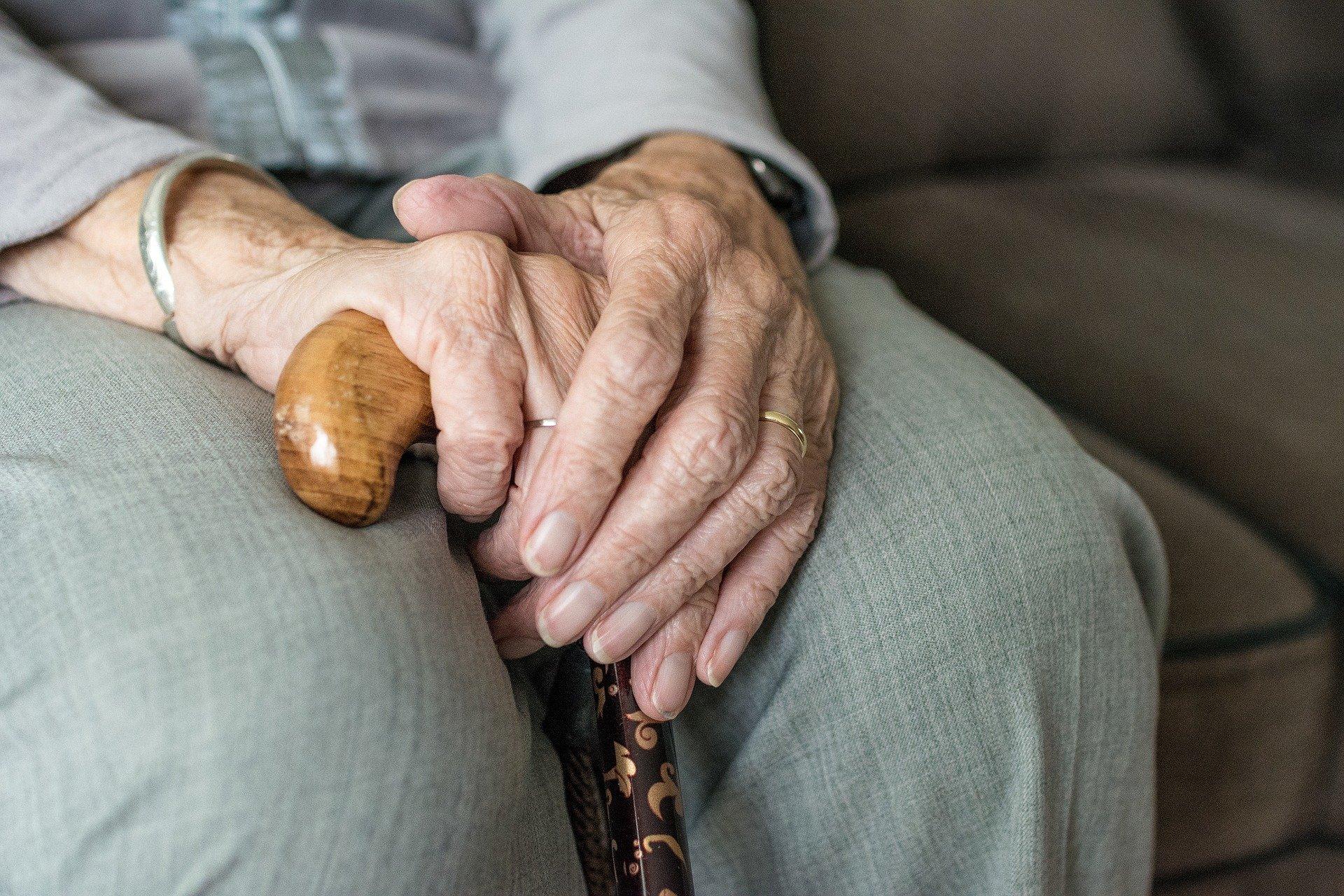 Hände halten einen Stock in der Hand